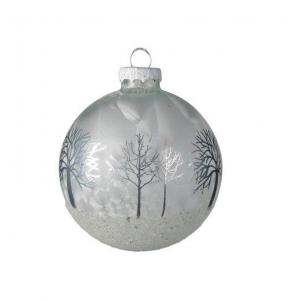 Boule forêt - Blanc et argent - Verre -Ø8 cm
