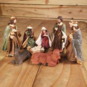 Creche poly maria- joseph- jesus- 3 rois- boeuf- ane - Hauteur maximale 11,5 cm