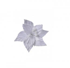 Poinsettia blanc à clip - 12 cm