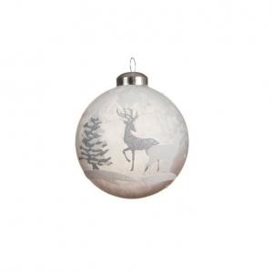 Boule renne et forêt - Gris blanc - Verre - Ø8 cm