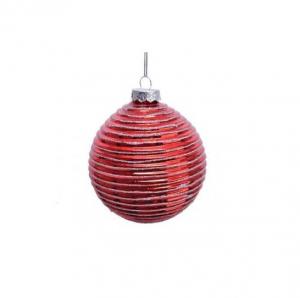 Boule rayée - Rouge et argent - Verre -Ø10 cm