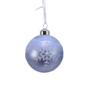 Boule flocon - Bleu givré et blanc - Verre - Ø8 cm