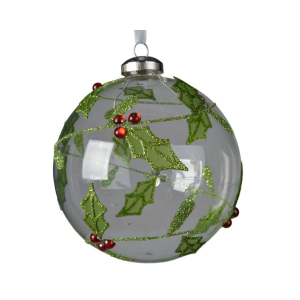 Boule houx - Vert et transparente - Verre - Ø10 cm