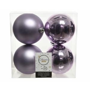 Boules de Noël - 4 unités - En plastique - Lilas givré - Ø 10 cm