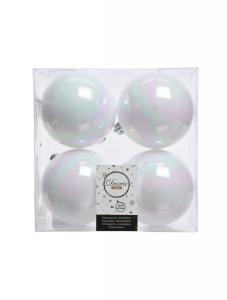 Boules de Noël - 4 unités - Incassables - Blanc/Irisé - Ø 10 cm