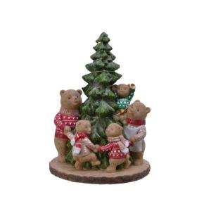 Figurine arbre de Noël et ours - Leds - 22 cm