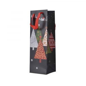 Sac cadeau bouteille Sapins -10 X 12 X36 cm