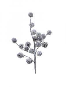 Branche - Pommes de pin - Paillettes - Blanc - 60 cm