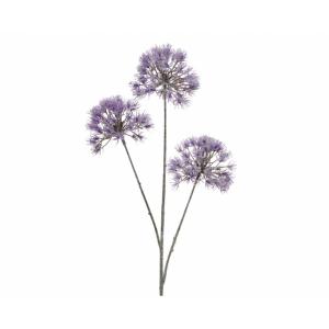 Branche - 3 boules fleurs - Lilas - Plastique - 80 cm