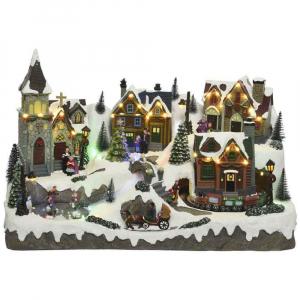 Village d'hiver - LED - Thème christmasvillages avec mouvement et musique