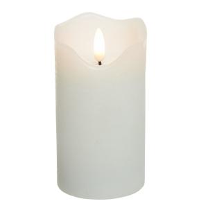 Bougie flamme 3D - LED - Blanc - Haut on dulé - Ø 7 cm - 17 cm