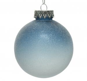 Boule de Noël - Plastique - Bleu nuit -Effet givré - Ø 8 cm