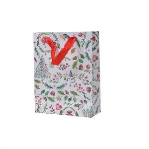 Sac cadeau - Blanc et motifs - 18 X 24 X 8 cm