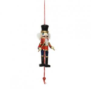 Marionnette à tirette soldat à tambour - Bois - 12,5 cm