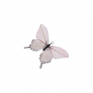 Papillon à clip - Rose poudré et paillettes - 11 cm