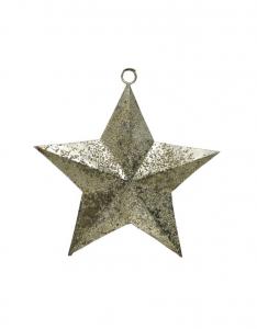 Etoile en suspension - fer finition métal - Or clair - 16 cm