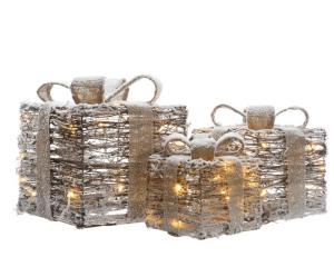 Boite cadeau - LED - Or - 15x15x18 cm