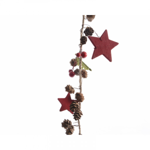 Guirlande - Pommes de pin/étoiles rouges - 120 cm