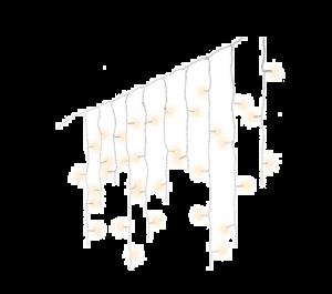 Guirlande stalactites scintillantes - Bl anc/blanc chaud -11 m - Câble blanc