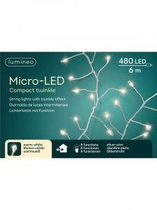 Guirlande en cascade - Gros micro-LED -Argent/blanc chaud - 6 m