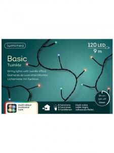 Guirlande lumineuse - Multicolore - LED- 9 m - Câble noir  - 120LEDS