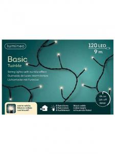 Guirlande lumineuse - Blanc chaud - LED- 9 m - Câble noir