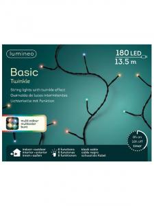 Guirlande lumineuse - Multicolore - 180LED - 13,50 m - Câble noir