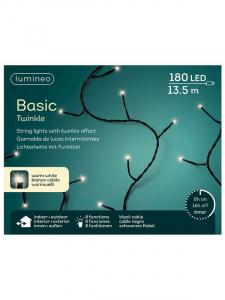 Guirlande lumineuse - Blanc chaud - LED- 13,50 m - Câble noir