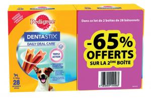 Friandises pour petit chien Dentastix Pedigree - 65% offerts sur la 2e boite -440g