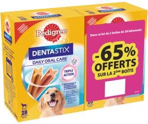 Friandises pour grand chien Dentastix Pedigree - bipack 65% offerts sur la 2e boite