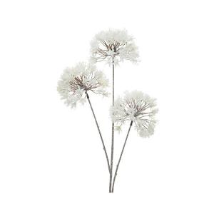 Branche - 3 boules fleurs - Blanc givré- Plastique - 80 cm