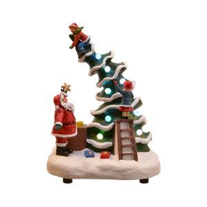 Arbre animé - LED - Thème christmas fun- Avec enfants et Père-Noël - Mouvementet musique