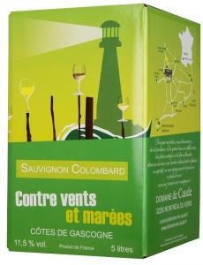 Vin Sauvignon Colombard - Contre Vents et Marées - Blanc - Bag in Box de 5 litres