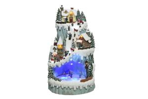 Montagne avec patinoire - LED -  Thème village Noël avec mouvement et musique