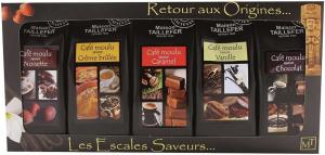 Étui cafés aromatisés dégustation - Maison Taillefer - café moulu pur arabica - 5x50 gr
