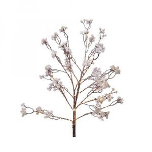 Branche fleurs - Branche marron - Lumière blanc chaud - 75 cm