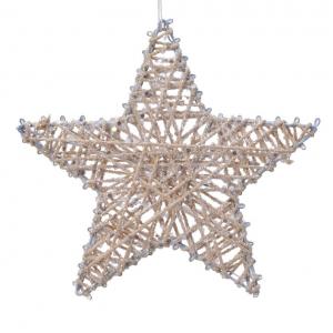 Etoile fer avec corde et paillettes - Asuspendre - Coloris champagne - Diamètre 15 cm
