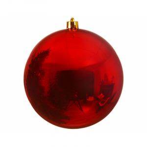 Boule de Noël - Rouge - En plastique - Brillante - Ø 20 cm