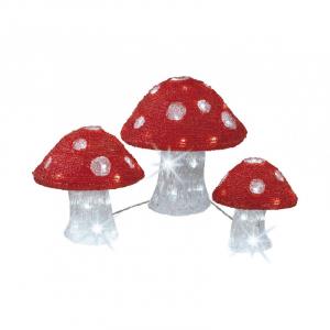 3 Champignons - Blanc froid et rouge - 3 t ailles - 25 cm/20 cm/18 cm