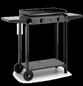 Chariot en acier noir pour plancha Base60 - L 119,4 x l 48 x H 85,7 cm