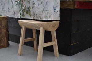 Banc en bois de paulownia - Naturel - 25x50x45 cm