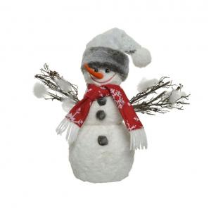 Bonhomme de neige - Mousse - Chapeau/écharpe - Blanc/Couleurs - 28 cm