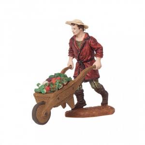 Homme avec une charrette de légumes - 10 cm