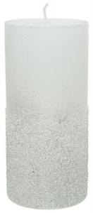 Bougie pilier cire - Blanc - Paillettes- Ø 7 cm - 13,5 cm