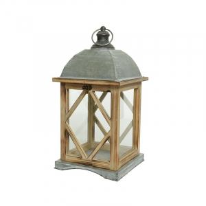 Lanterne - Sapin - Zinc - Naturel - 32x32x82 cm