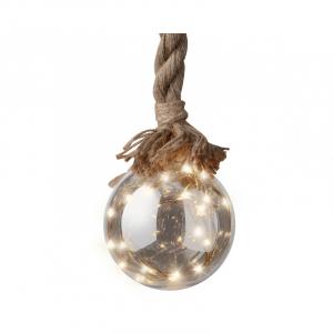 Boule de Noël à corde - Verre fumé - Micro-Led - Blanc chaud - Ø 14 cm