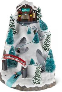Scène ski - LED - Thème villages de Noël - Maison avec skieur avec mouvement etmusique