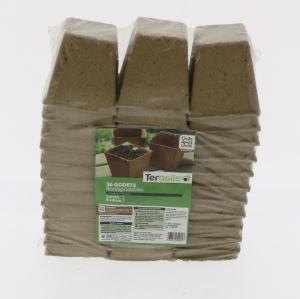 Pots carrés biodégradables - Romberg & co - Ø8 - Lot de 36 pots